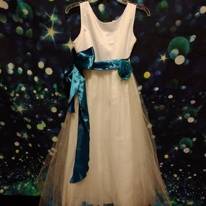 White and teal flower girl dress size 16
